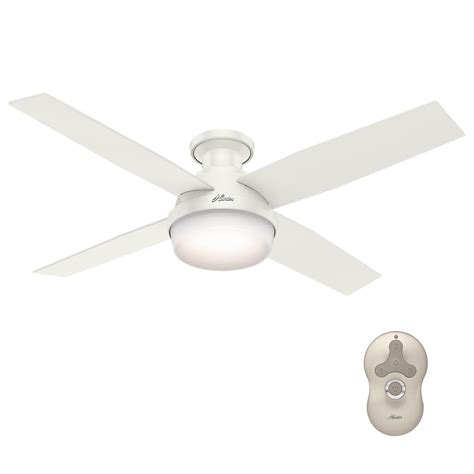 home depot white ceiling fan with remote hunter dempsey 52 in low profile led indoor fresh white