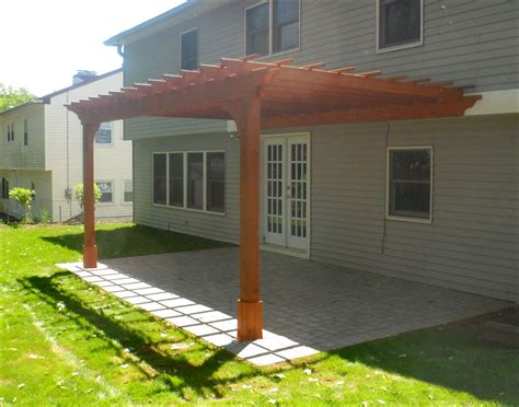 customer s photo 10 x 16 cedar 2 beam wall mounted pergola