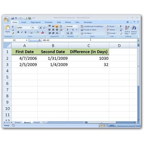 subtract date values microsoft excel