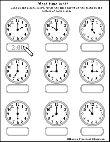 kindergarten time worksheets worksheets for all