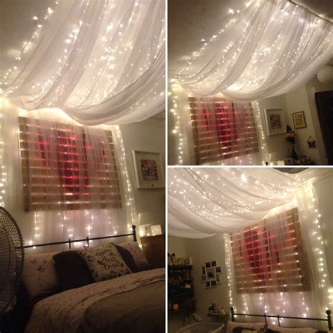 fairy light bed canopy hung  ceiling  give effect