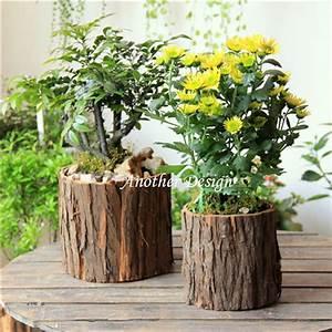 Natural wood veneer flower pots planters metal inside