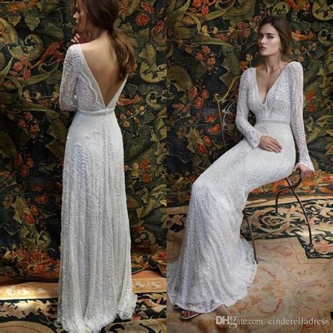 2017 New Romantic Bohemian Lace Backless Wedding Dresses V