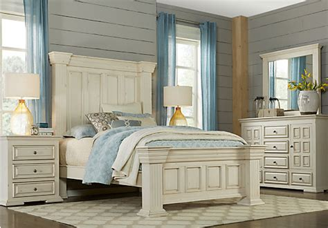 ash gray worth ivory  white  pc queen panel