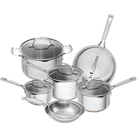 emeril lagasse  piece stainless steel cookware set  copper core induction compatible