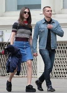 Alison Brie in Jeans Skirt out in Soho