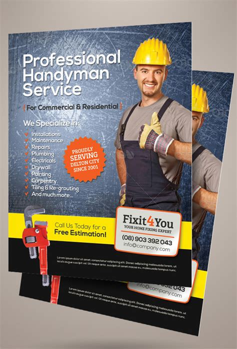 beautiful handyman flyer templates  eps psd