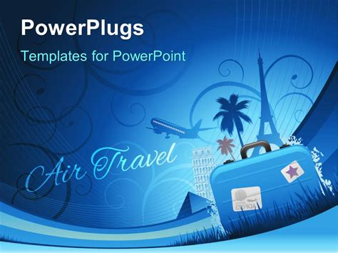 powerpoint template travel depiction  abstract floral