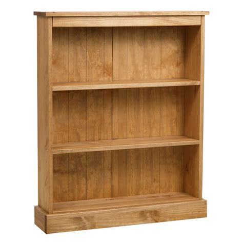 Low Wide Bookcase by Rossano Pine Low Wide Bookcase