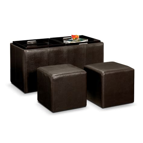 chair with storage ottoman moore 3 pc storage ottoman with trays furniture com