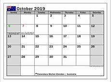 Calendar October 2019, Australia Michel Zbinden EN