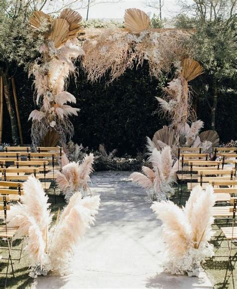 pampas grass wedding aisles archives   day
