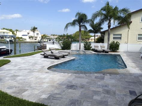 silver travertine paver pool deck mart