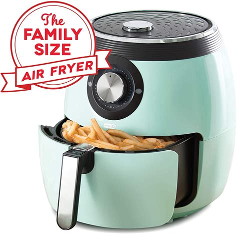 fryer air oven qt dash deluxe cooker electric deep basket 8qt retro aqua toaster under temperature control recipe shut feature
