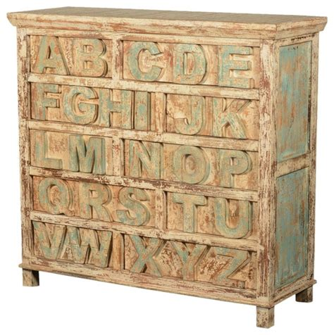 carved reclaimed wood abc 10 drawers dresser chest