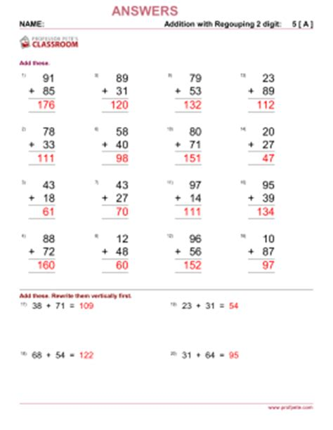digits vertical division with regrouping professor pete s classroom 187 addition 2 digit add 2 digit