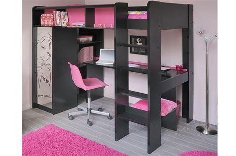 armoire chambre ado lit mezzanine noir et my