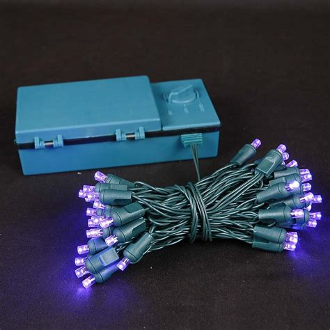 50 led battery operated christmas lights purple on green