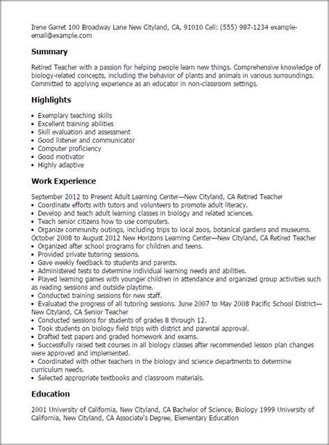 retiree resume sles resume ideas