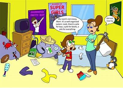 Messy Clipart Cartoon Bedroom Clean Cleaning Clip