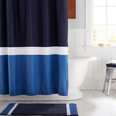 color block shower curtain navy blue pbteen