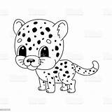 Cheetah Coloring Cartoon Vector Character Hand Drawn Animal Cheerful Children Isolated Libro Fantasy Kleurend Blank Illustrazione Met Foer Vettore Sveglio sketch template