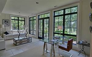 Black casement windows kitchen contemporary with wall
