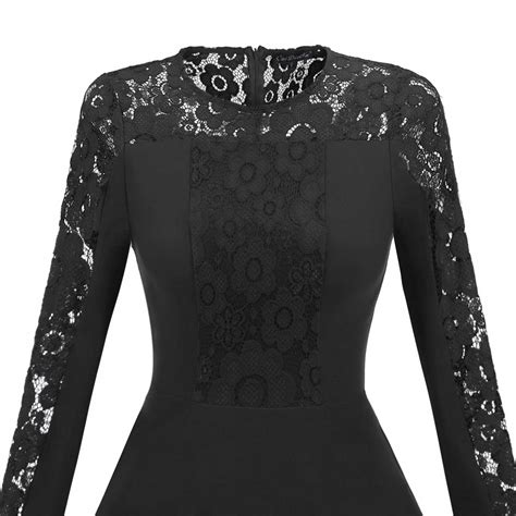 Elegance Women Vintage Lace Long Sleeve Formal Evening