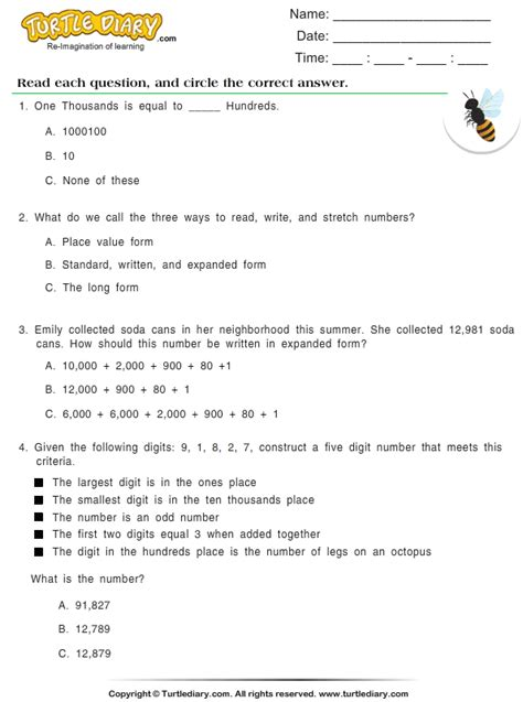 identify  number worksheet turtle diary