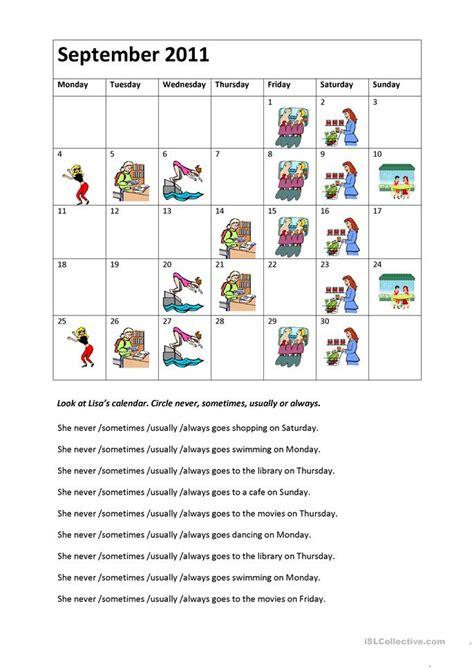 lisa s calendar worksheet free esl printable worksheets made by teachers