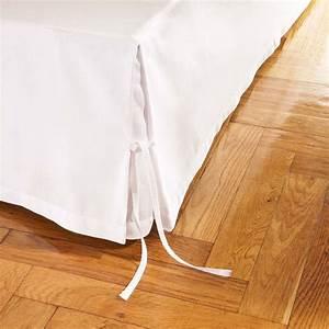 Cache Sommier Blanc : cache sommier lin cachou blanc 160x200 linge de maison ~ Teatrodelosmanantiales.com Idées de Décoration