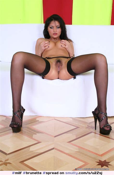 Milf Brunette Spread Pussy Stockings Heels Perfect
