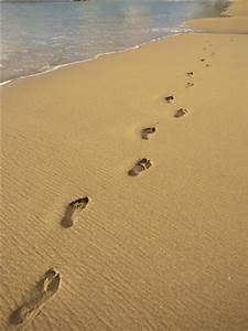 Footprints in the Sand on a Beach Photographic Print by ...