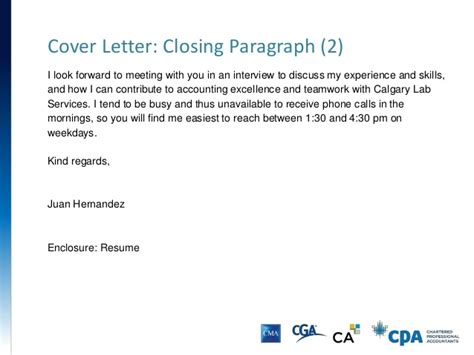 closing paragraph of a cover letter resume cover letter presentation