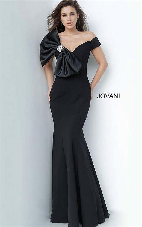 Jovani Dresses   Womens Black Decollete Large Bow Evening ...