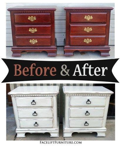 distressed antiqued white nightstands
