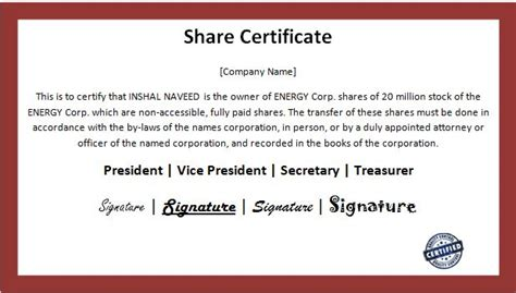 customizable business share certificate templates word