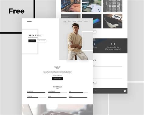 Portfolio Template Alex Free Personal Portfolio And Resume Psd Template