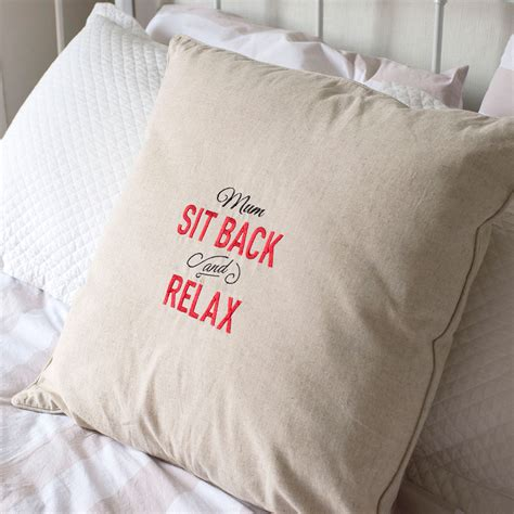 Personalised Natural Cushion Sit Back And Relax A Great