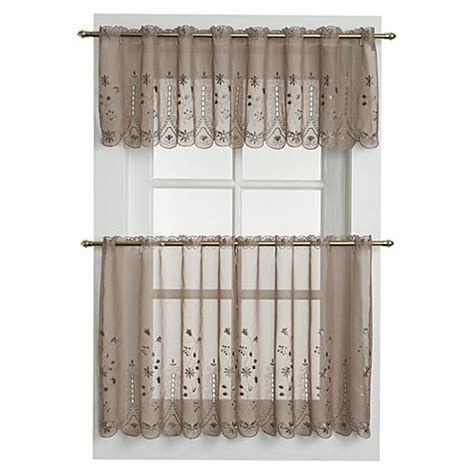bed bath and beyond kitchen curtains pict buy 24 inch sheer window curtain tier pair in