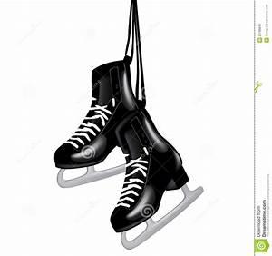 Pair Of Black Ice Skates On White Stock Vector ...