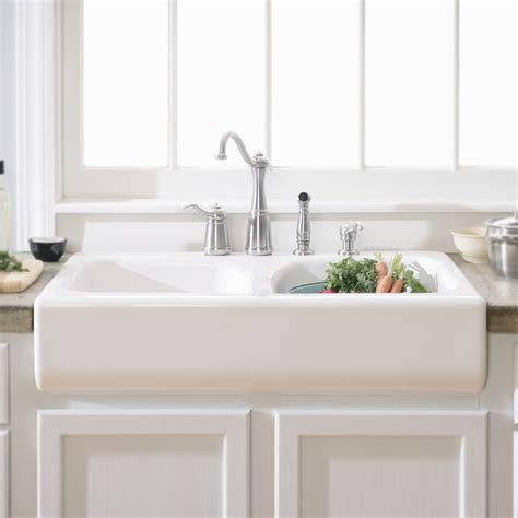 white apron front sink lyons industries dks deluxe apron front dual basin acrylic