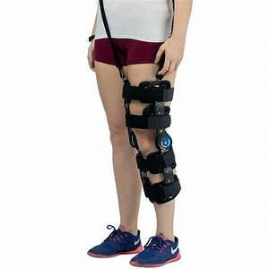 Hinged Rom Knee Brace With Strap  Adjustable Leg