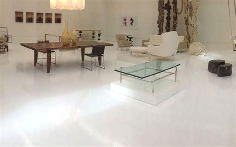 white epoxy furniture store polished concrete micro