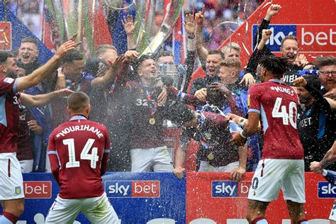 Aston Villa promoted: Players and staff celebrate Wembley ...