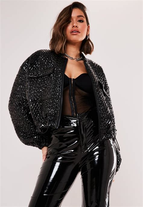 Black Vinyl Quilted Bomber Jacket   Missguided