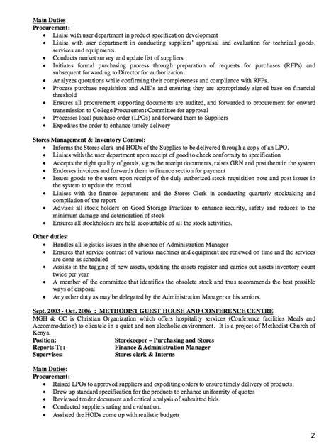 storekeeper resume exle resumes design