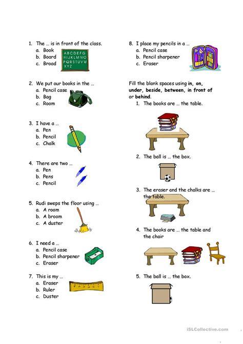 test  classroom  preposition worksheet  esl