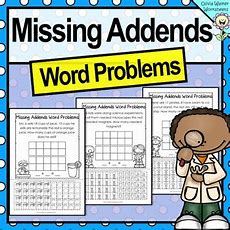 Missing Addends Word Problems  Cut And Paste  Grade One Worksheets