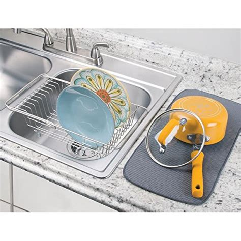 mdesign kitchen over the sink dish drainer rack for drying